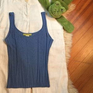Sigrid Olsen blue embroidered beaded knit …